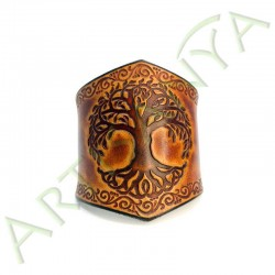 vue de face du Bracelet Ilythiir Yggdrasil_ couleur marron