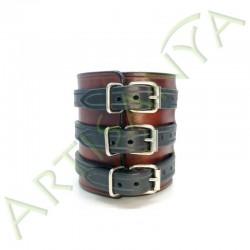 vue de dos du Bracelet de Force marron feu 3 sangles