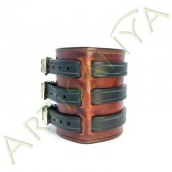 vue de côté du Bracelet de Force marron feu 3 sangles