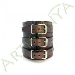 vue de dos du Bracelet de Force marron couture marron 3 sangles