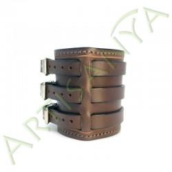 vue de côté du Bracelet de Force marron couture marron 3 sangles