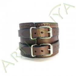 vue de dos du Bracelet de Force marron couture marron 2 sangles