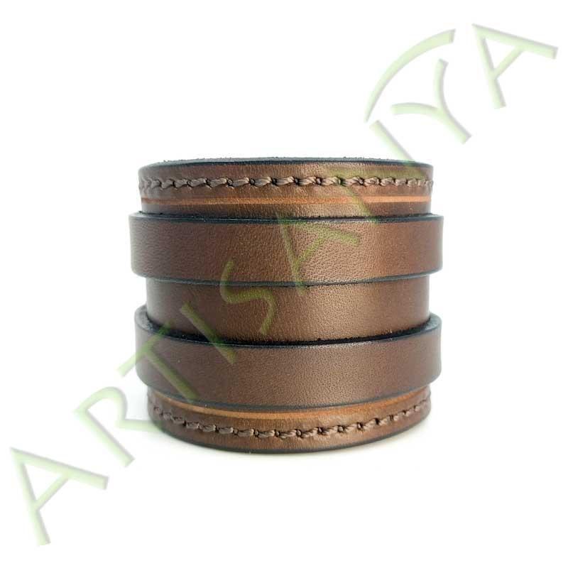 vue de face du Bracelet de Force marron couture marron 2 sangles