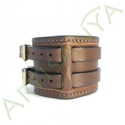 vue de côté du Bracelet de Force marron couture marron 2 sangles