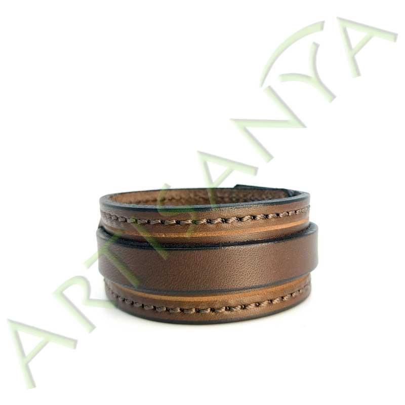 vue de face du Bracelet de Force marron couture marron 1 sangle