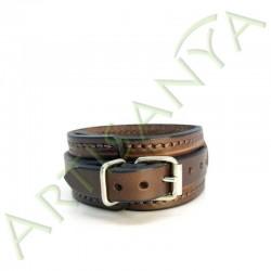 vue de dos du Bracelet de Force marron couture marron 1 sangle