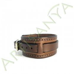 vue de côté du Bracelet de Force marron couture marron 1 sangle