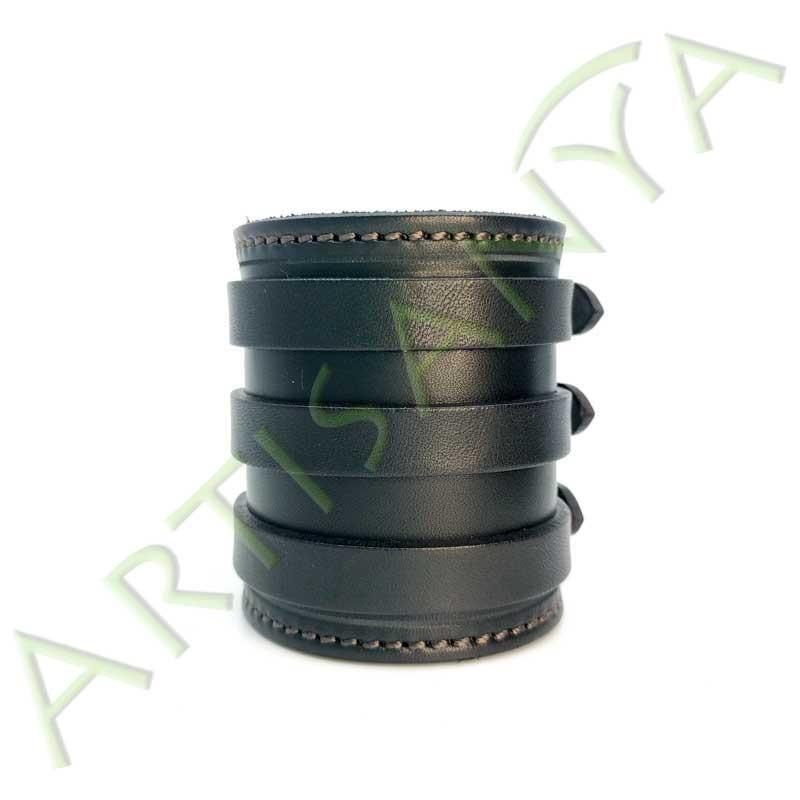 vue de face du Bracelet de Force noir couture marron 3 sangles