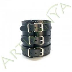 vue de dos du Bracelet de Force noir couture marron 3 sangles