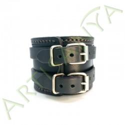 vue de dos du Bracelet de Force noir couture marron 2 sangles