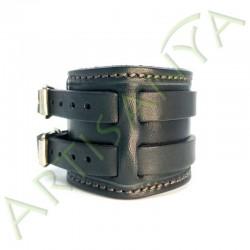 vue de côté du Bracelet de Force noir couture marron 2 sangles