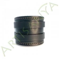 vue de face du Bracelet de Force noir couture marron 2 sangles