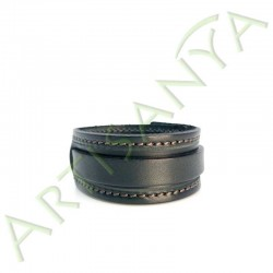 vue de face du Bracelet de Force noir couture marron 1 sangle