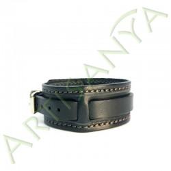 vue de côté du Bracelet de Force noir couture marron 1 sangle