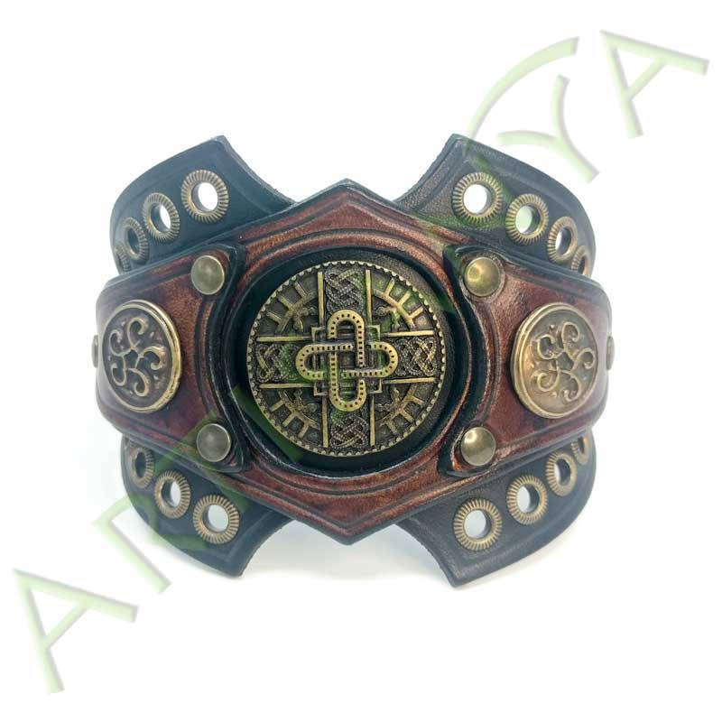 vue ouverte de face du Bracelet Ragnar manchette_ Mérovingienne