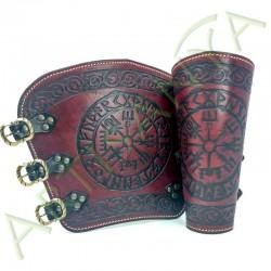 vue de face des Canons d'avant bras Vegvísir_Viking rouge
