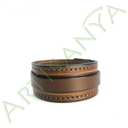 Bracelet de Force marron couture marron 1 sangle